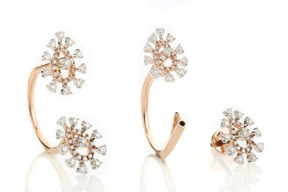 Entice Alina Collection_ All diamond ring cum ear studs in rose gold
