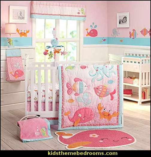 Carter's Sea Collection 4 Piece Crib Set, Pink/Blue/Turquoise  Under the Sea  Baby Crib Bedding-under the sea theme nursery pink and blue