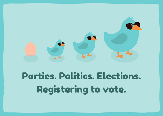 Parties, politics, elections, registering to vote