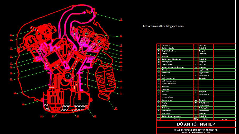 Bản vẽ hệ thống đánh lủa động cơ 1GR-FE trên xe Toyota Landcruiser 2007: