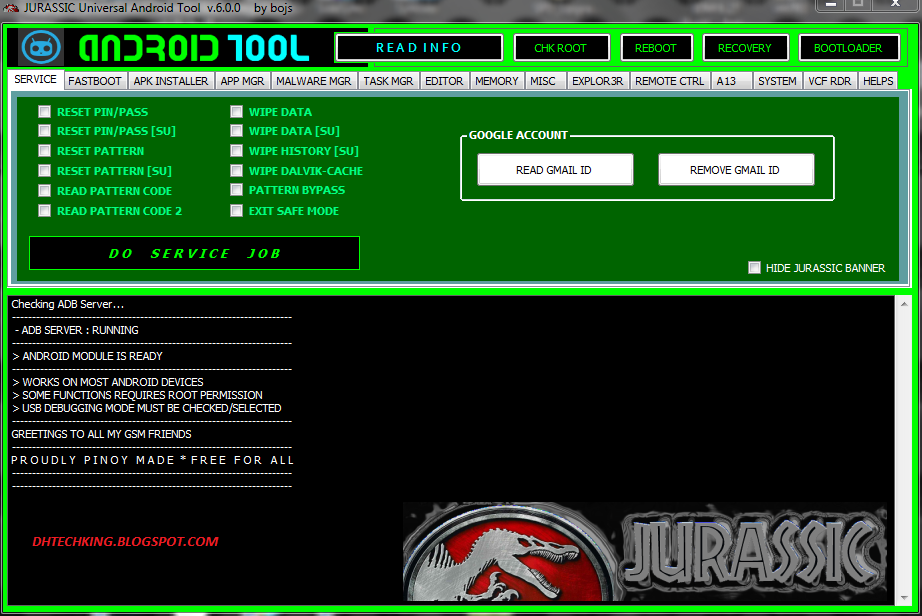 Download Jurassic Universal Android Tool v 6 0 0 - Dhtechking