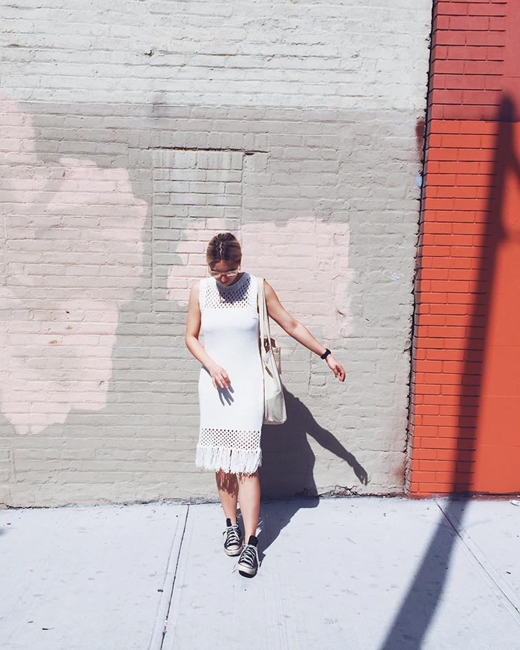 Elborne Living Amour Vert Helen dress, Warby Parker Dorothy sunglasses, Bushwick, Brooklyn