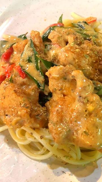 Spaghetti buttermilk chicken menu masakan panas western #codchef