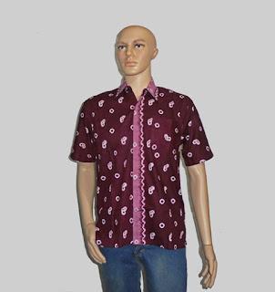 Baju Batik Pria, Hem Batik Jumputan Maroon