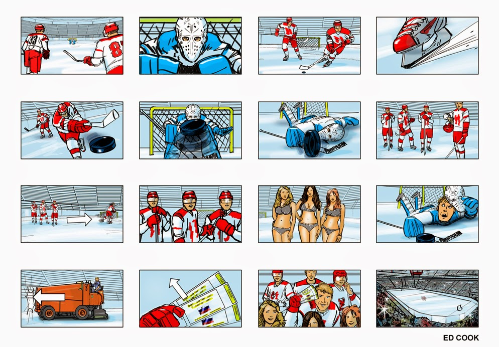Ed Cook Storyboards and Illustration Storyboards for hockey-themed - commercial storyboards