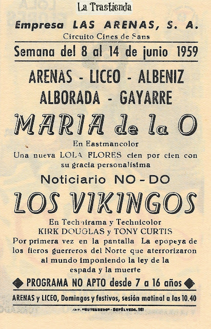 Programa de Cine - María de la O - Lola Flores - Gustavo Rojo
