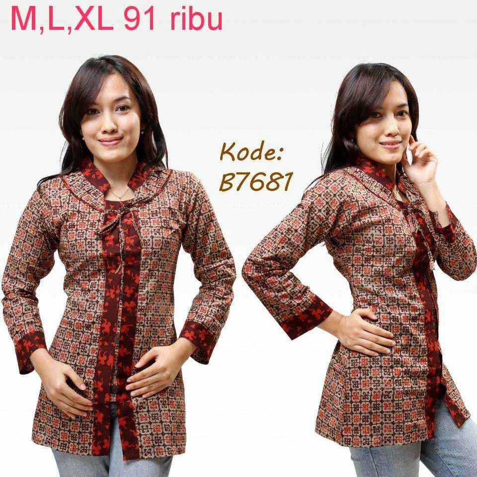 Model Baju Batik Kerja Atasan Muslim: Contoh Model Baju Batik Wanita