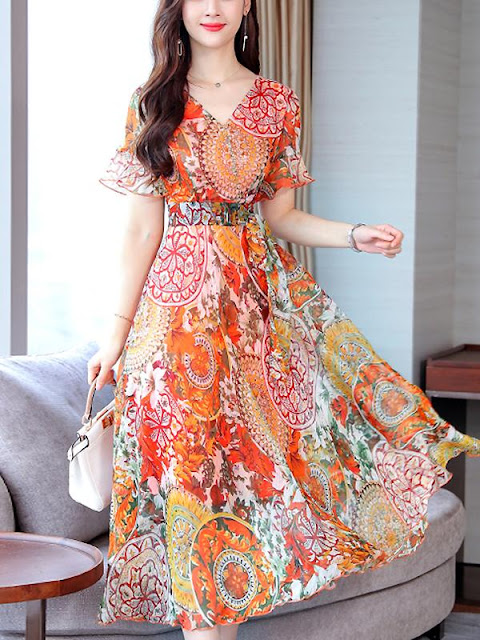 Printed maxi casual dress for summer