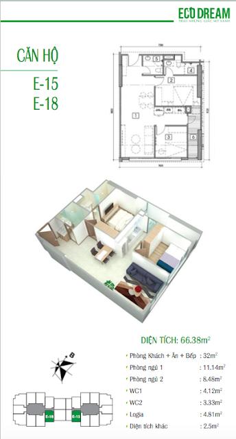 Thiết kế căn hộ loại E chung cư Eco Dream