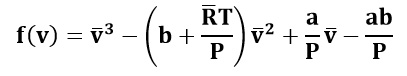 Sustituimos los coeficientes en la ecuación de Van Der Waals