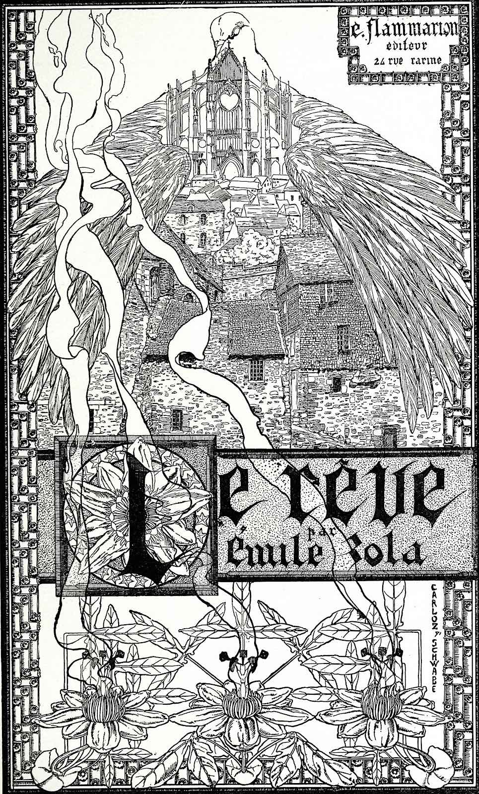 a Carlos Schwabe illustration for Le Reve with a giant bird embracing a town