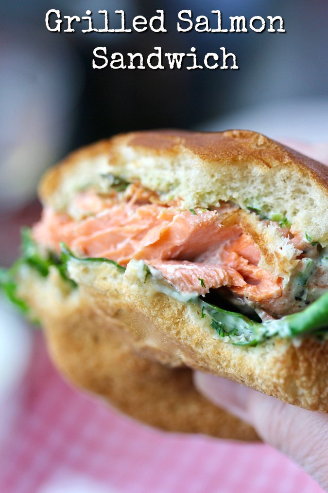Grilled Salmon Sandwiches with Basil Dill Sauce close up