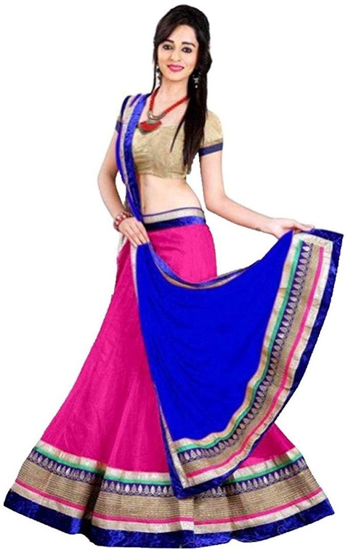 Aika Fashion Women's Net Semi-Stiched Lehenga Choli