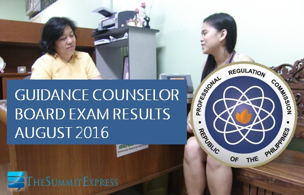 August 2016 Guidance Counselor board exam results