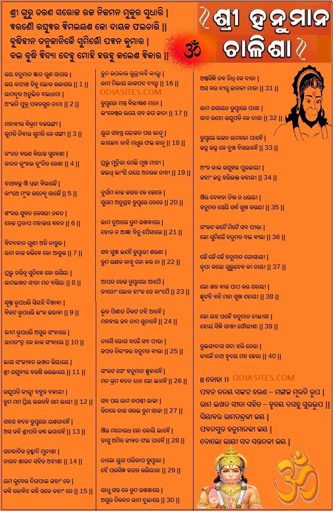 Odia Hanuman Chalisha Lyrics