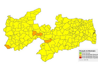 Paraíba tem apenas 5 municípios em bandeira laranja e todos os demais em amarela
