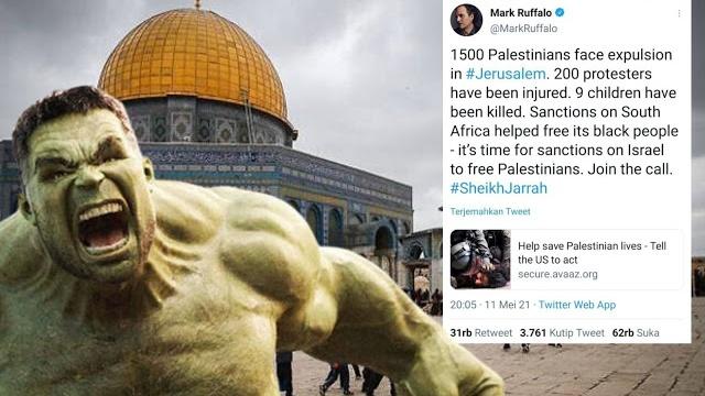 Palestina Terus Digempur, Pemeran Hulk Ajak Dunia Jatuhkan Sanksi untuk Israel