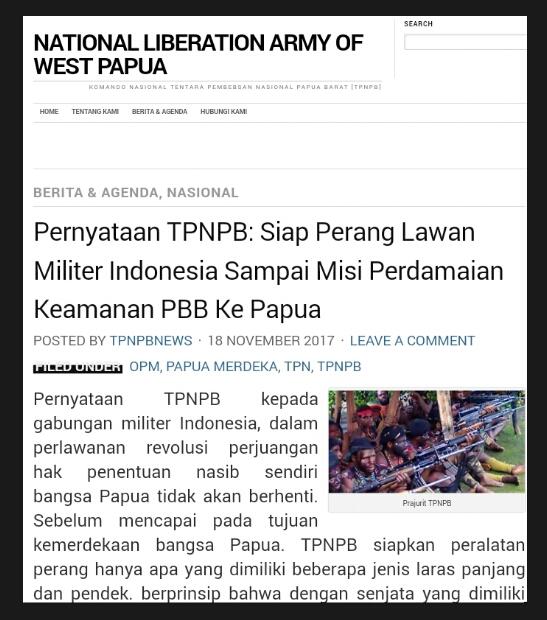 TPNPB Menyatakan Siap Perang Melawan Militer Indonesia Sampai Misi Perdamaian Keamanan PBB Ke Papua