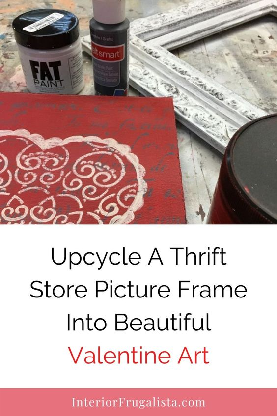 Picture frames are normally in abundance in our thrift store. And, they are usually cheap. See a tutorial on how you can upcycle a thrift store picture frame into beautiful Valentine art to decorate your home. #thriftstore #thriftstoreframe