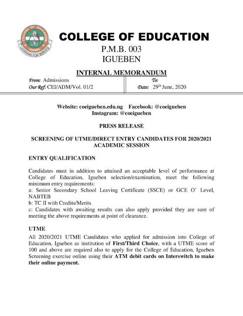COE Igueben Post-UTME & DE Screening Form 2020/2021