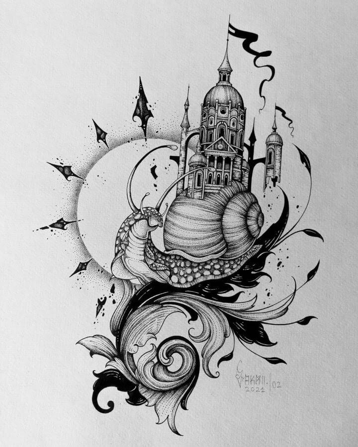 02-Snail-with-a-castle-house-Zakrii-www-designstack-co