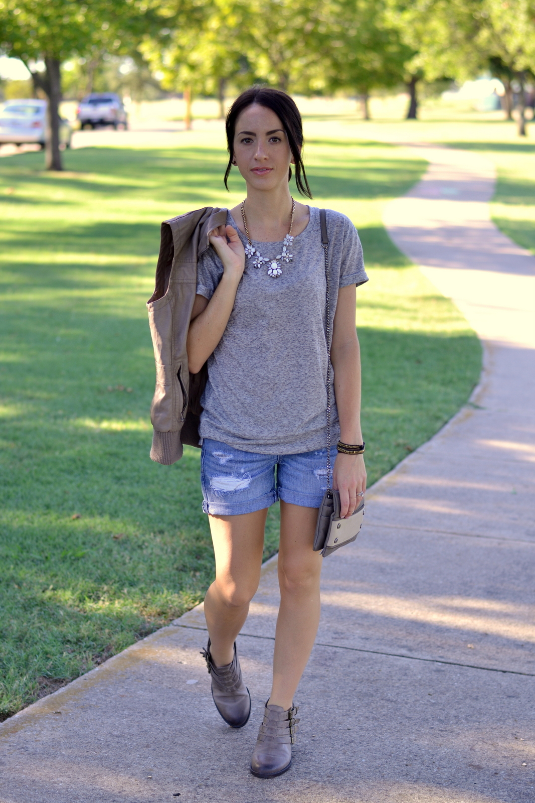 Boyfriend Shorts, Ankle Boots, Gray Tee