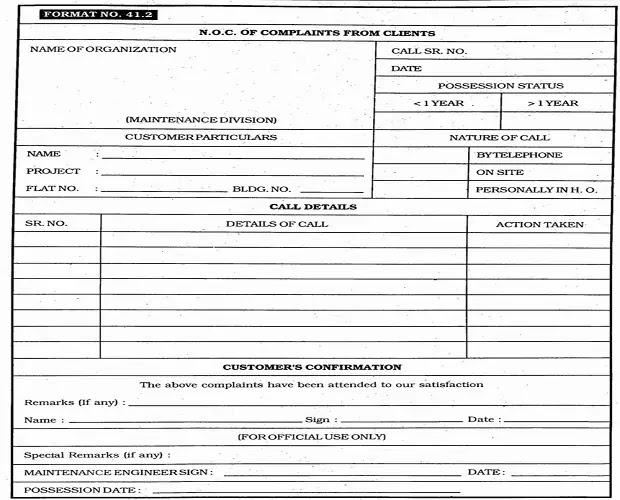 noc complaints register