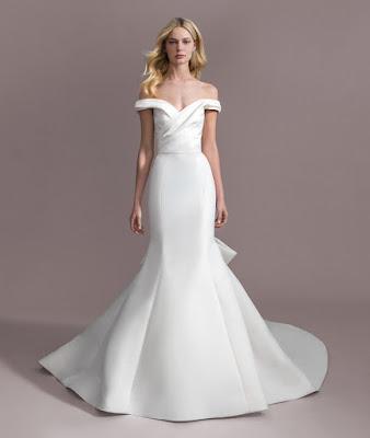 Allison Webb Draped off the shoulder fit and flare bridal dress