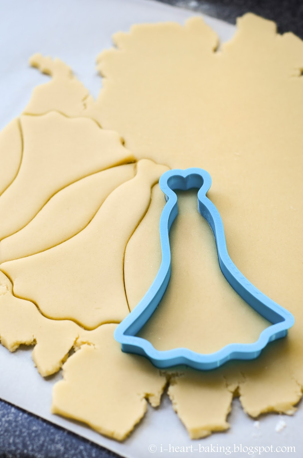 wedding dress cookies with brush wedding dress cookie cutter For the cookies I made a few batches of my trusty sugar cookie dough recipe in my book and used my beautiful new cutter to cut out the shapes