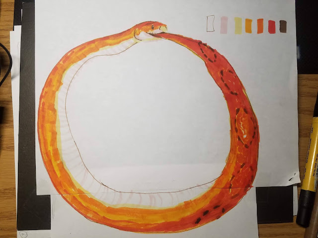 marker drawing of corn snake as an ouroboros