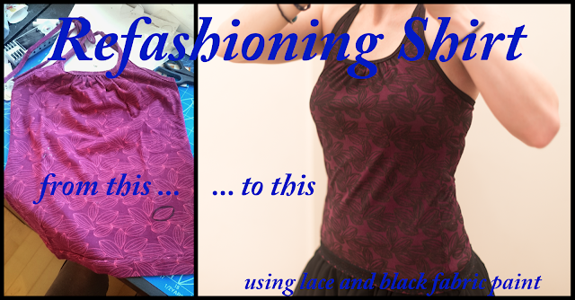DIY Refashioning A Boring Shirt With Black Paint And Lace Ribbon Sewing