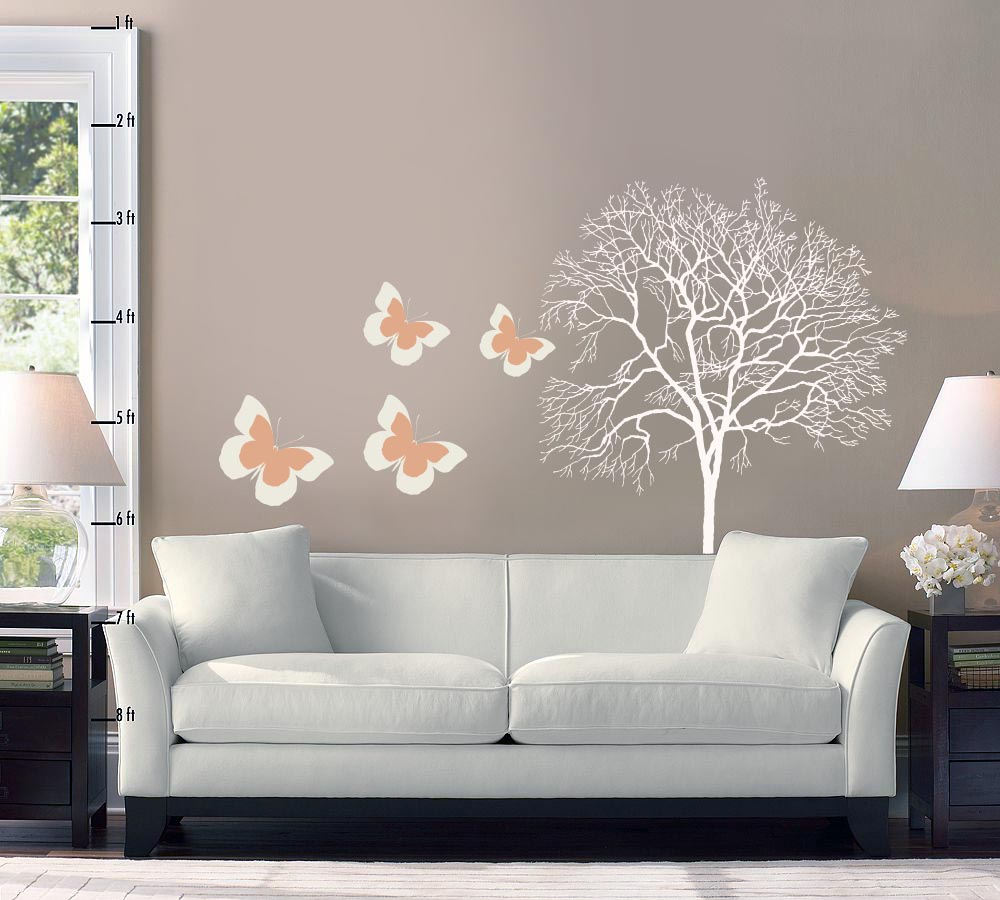 living room interior design with wallpaper