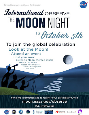 International observe the moon night is October 5th. moon.nasa.gov/observe
