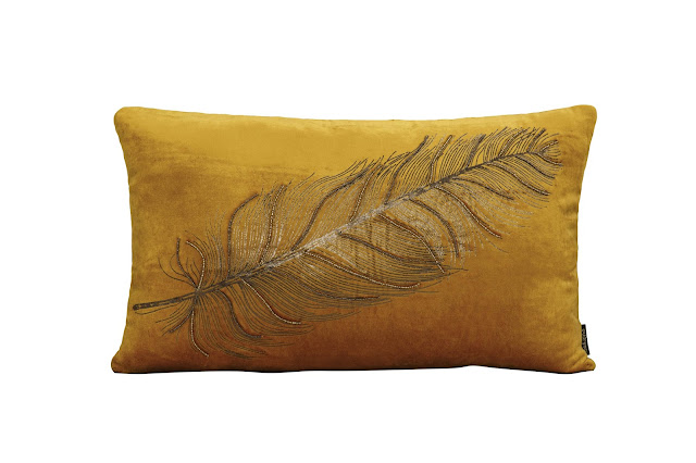 8548_Penacho Ochre Gold Foiled Peacock Feather Velvet Cushion-Rs 2000