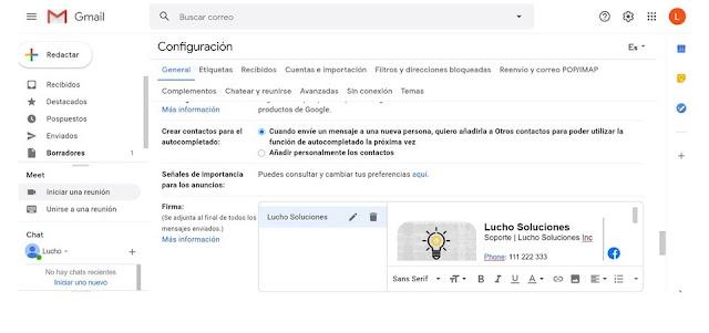 Firma de correo electronico gmail profesional