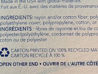 Ingredients in english and french showing polyethylene and polypropylene