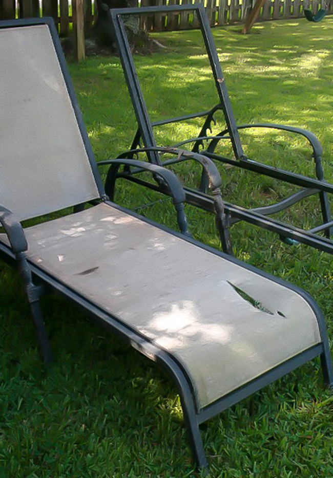 Damaged chaise lounge chairs revived