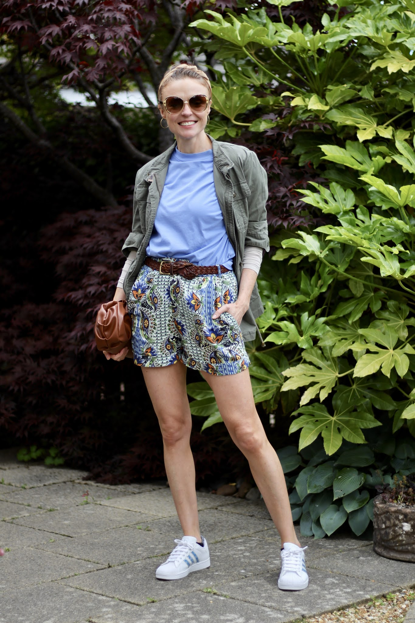 Patterned shorts and Army jacket, over 40.