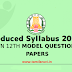 12th Zoology Reduced Syllabus Model Question Paper 2021 EM