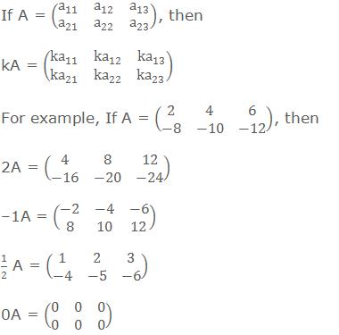 If A = (■(a_11&a_12&a_13@a_21&a_22&a_23 )), then kA = (■(ka_11&ka_12&ka_13@ka_21&ka_22&ka_23 )) For example, If A = (■(2&4&6@-8&-10&-12)), then 2A = (■(4&8&12@-16&-20&-24)) –1A = (■(-2&-4&-6@8&10&12)) 1/2 A = (■(1&2&3@-4&-5&-6)) 0A = (■(0&0&0@0&0&0))