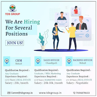 TDS Group Hiring Any Graduate Candidates For Profiles for Customer relationship management(CRM), Sales Officer, and Backend