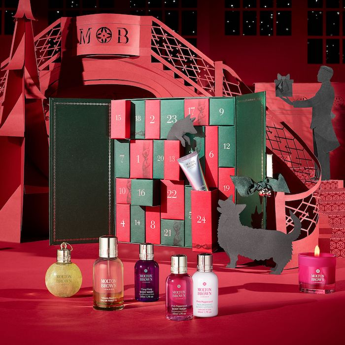 Contents and spoilers of the Molton Brown Beauty Advent Calendar for Holiday 2017, themed the Cabinet of Scented Luxuries.