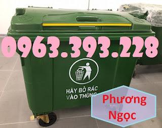 Xe gom rác nhựa HDPE 4 bánh xe, xe đẩy rác nhựa 660L, xe rác công nghiệp 500a9f098f8c6dd2349d