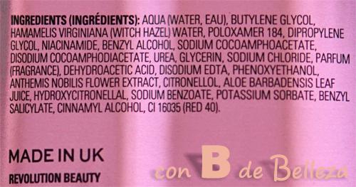 Ingredientes tónico con niacinamida