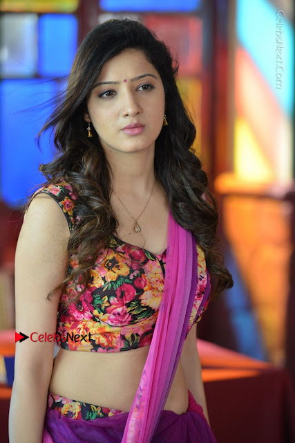 Actress Richa Panai Stills in Half Saree at Rakshaka Bhatudu Sets  0004.JPG