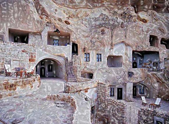 The special rooms of the Dream Cave Hotel are constructed inner side of the rocks that look like popular fairy chimneys. Dream Cave Hotel is simply one of the many cave hotels built-in Cappadocia, Turkey.