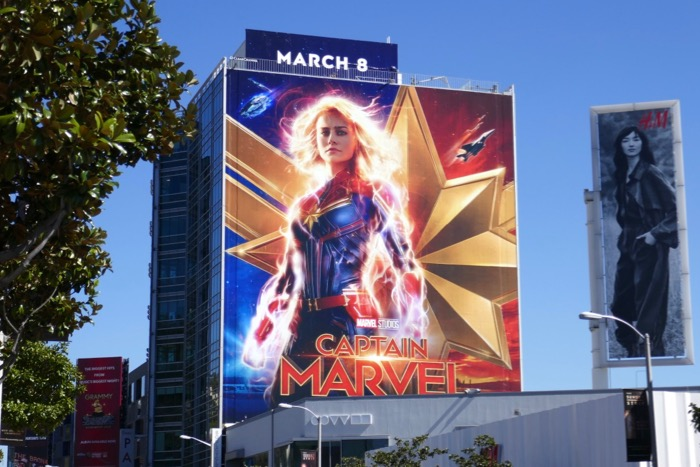 Giant Captain Marvel movie billboard Sunset Strip