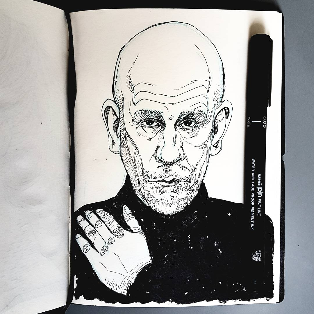 John Malkovich sketchbook illustration