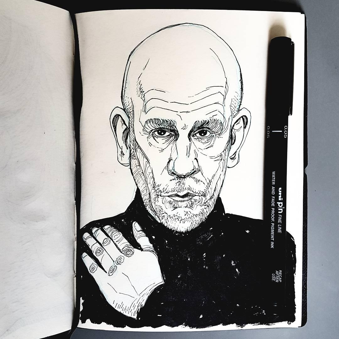 John Malkovich sketchbook illustration