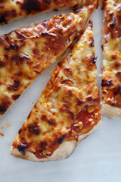 slices of thin crust pizza